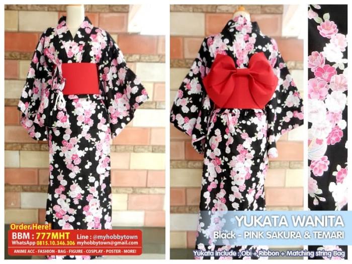 harga Yukata/kimono wanita : black pink sakura & temari Tokopedia.com