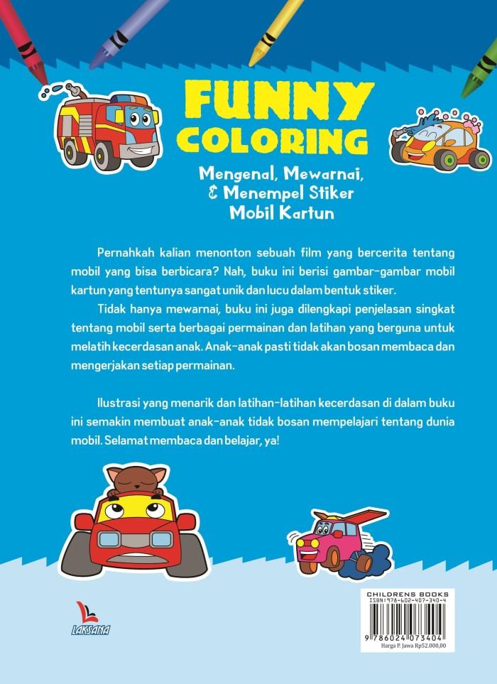 Jual Buku Funny Coloring Mengenal Mewarnai Dan Menempel Stiker Mobil