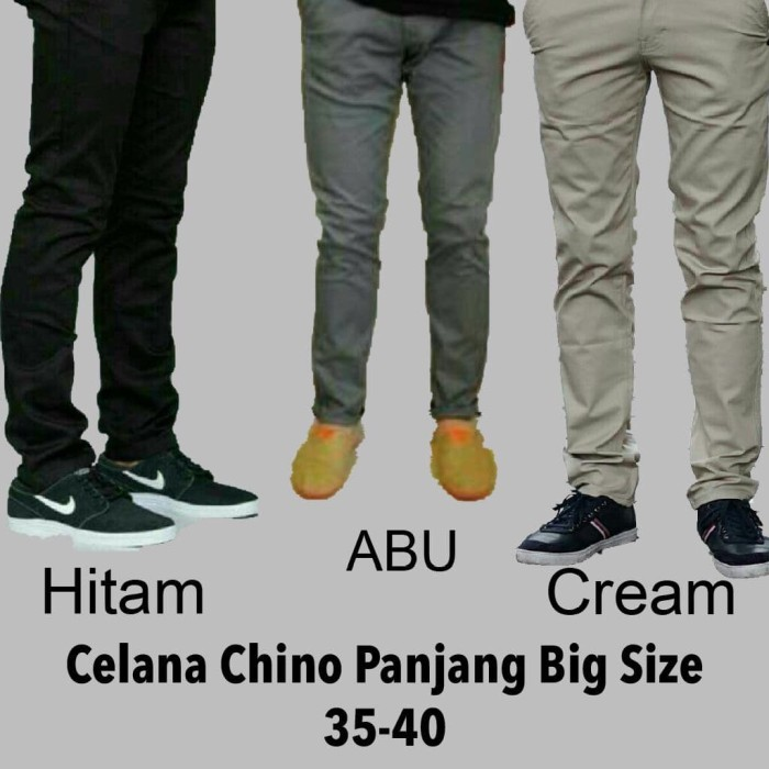 harga Celana chino panjang pria abu abu size 35-40 jumbo Tokopedia.com