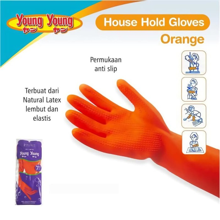 harga Young young latex gloves il sarung tangan 8inch karet rubber orange Tokopedia.com