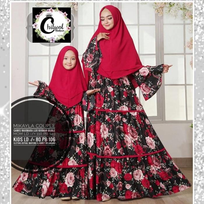 Baju Couple Ibu Anak Gamis Syari Dress Maxmara Set Khimar Mikayla