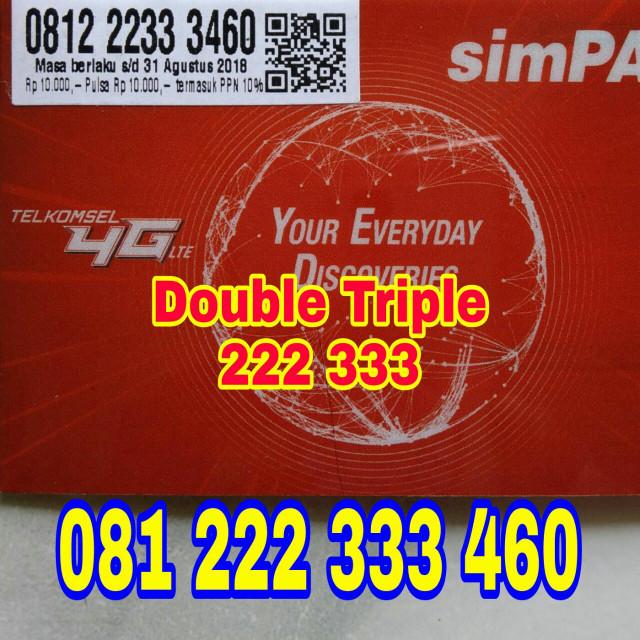 Nomor Cantik Simpati murah double triple 222 333