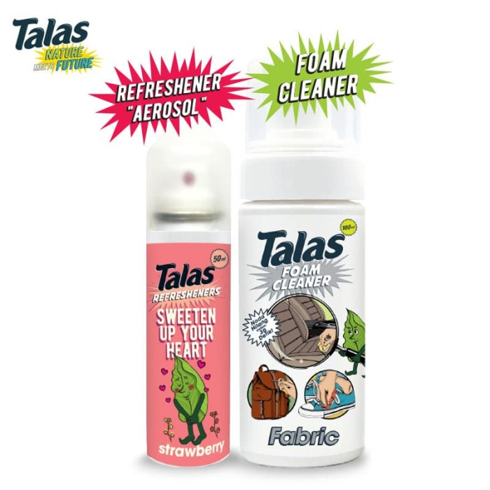 Talas Foam Cleaner Fabric (Pembersih) & Talas Refreshener Aerosol Strawberry (Pengharum) - Blanja.com