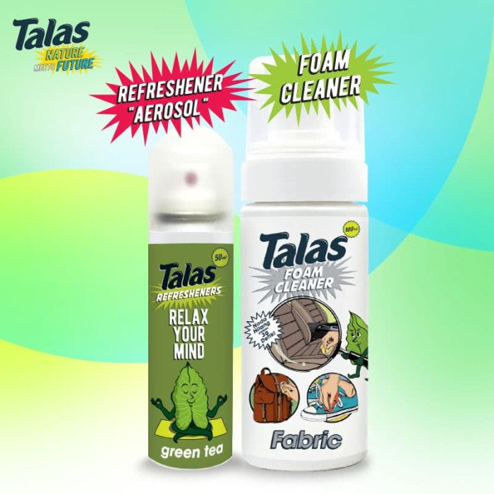 Talas Foam Cleaner Fabric (Pembersih) & Talas Refreshener Aerosol Green Tea (Pengharum) - Blanja.com
