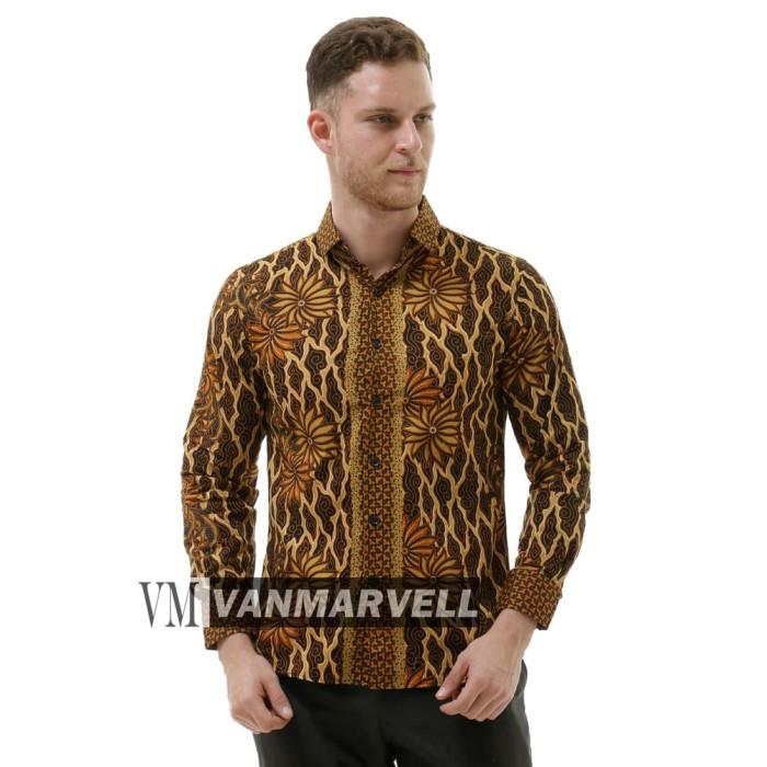 harga Vm kemeja batik pria lengan panjang slimfit - cokelat tua m Tokopedia.com