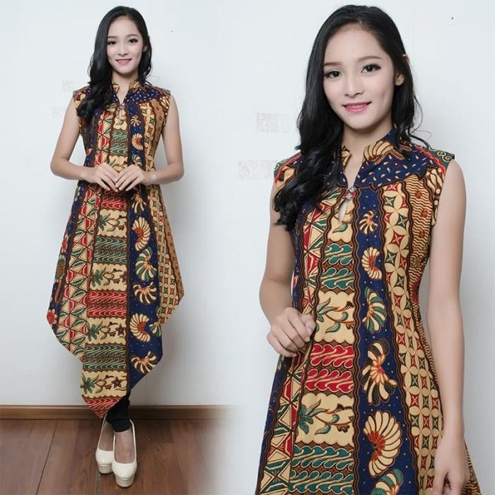 Kemeja Batik Gaul Wanita: Jual Atasan Long Tunik Batik Raina Kemeja Wanita