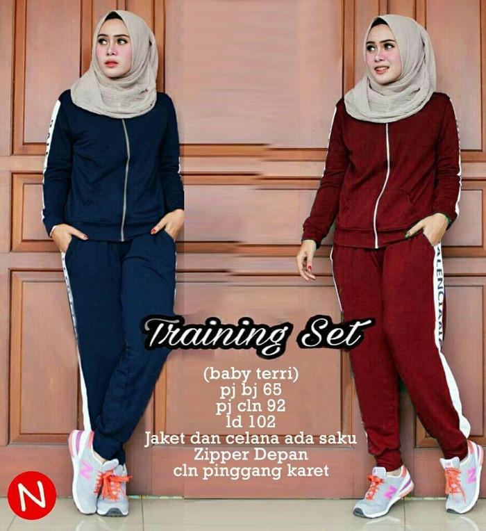 harga Setelan baju muslim wanita training olahraga senam gym lari valencia Tokopedia.com
