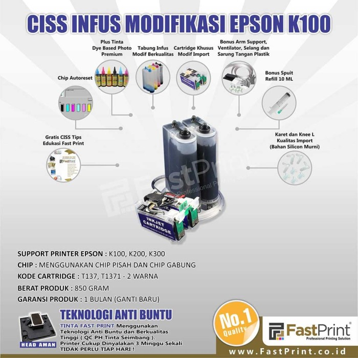 Fast print ciss infus modifikasi epson k300 plus tinta
