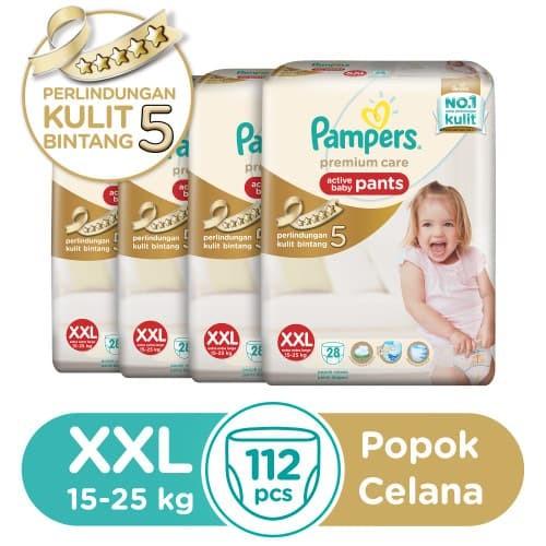 pampers popok premium care pants xxl 28's karton isi 4