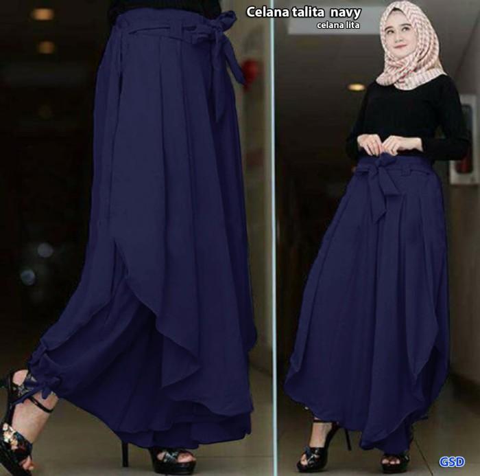 celana talita/celana kulot lapis rok tali ikat/celana hijab muslim cew - Navy