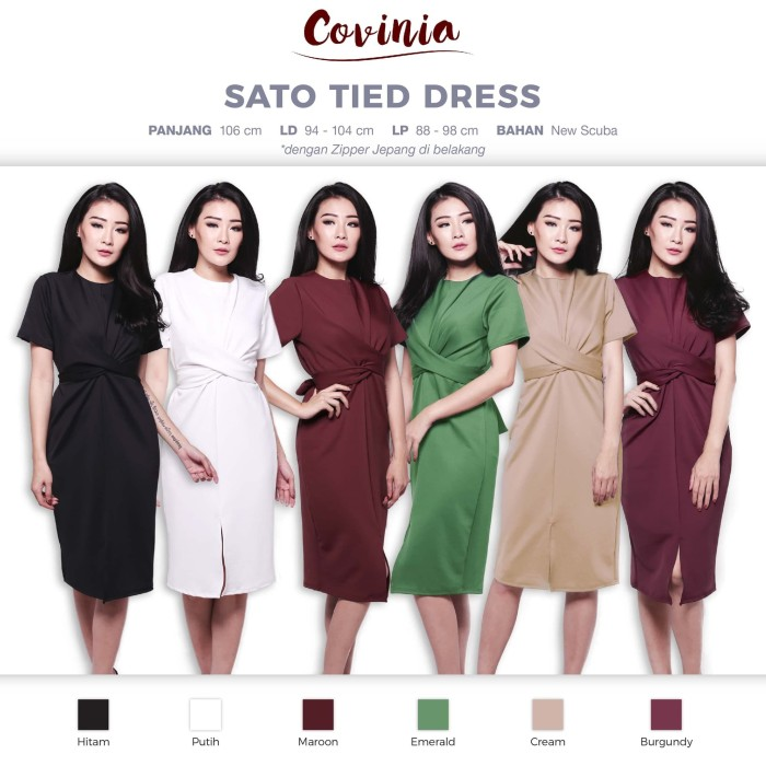CRG181069 - Sato Tied Dress Simple Sling Tied Casual Dress Front Slit - Black