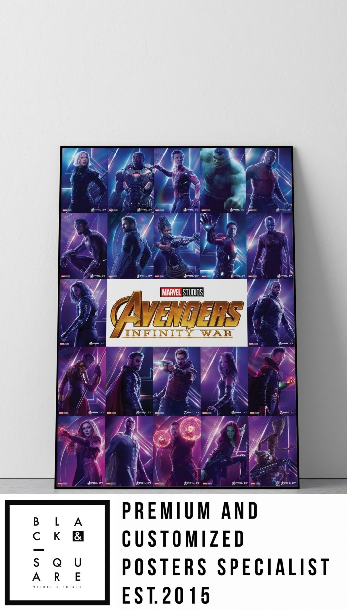 Poster kayu avengers infinity war size a2 serial no 8