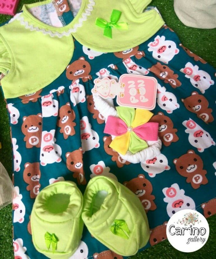 Jual PON PON Set Dress Baby Green-Bear 0 - 6 bulan - Carino craft ... 4a2d697082e3