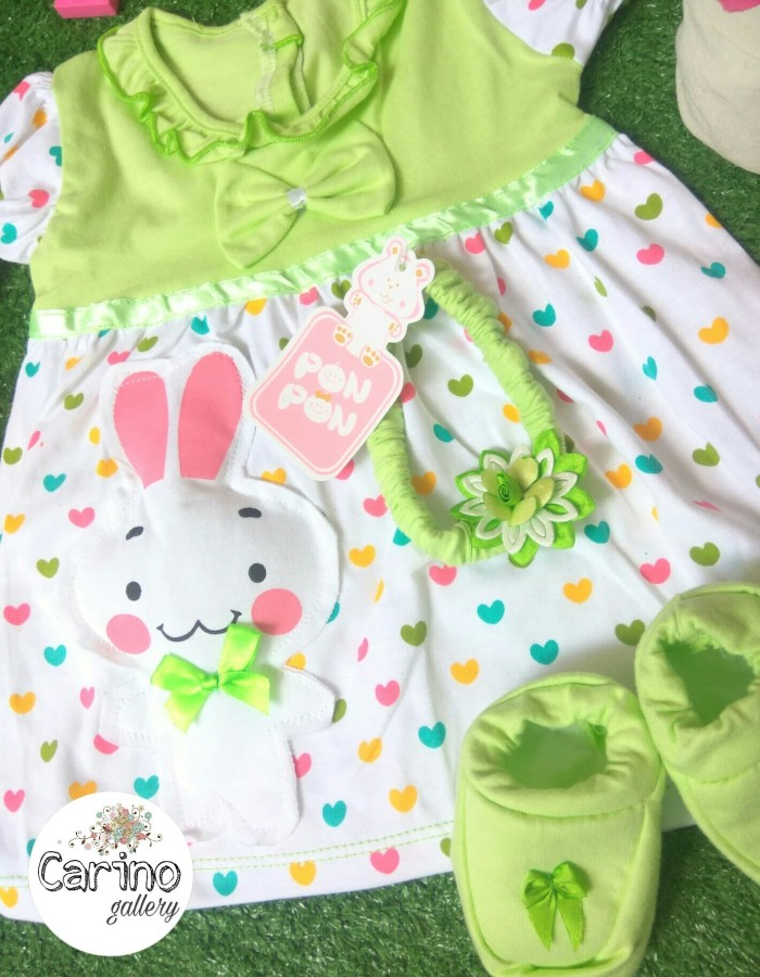 Jual PON PON Set Dress Baby Green-Love 0 - 6 bulan - Carino craft ... 4c006297decd