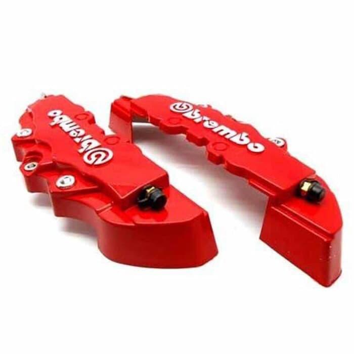 4 buah baru 3D Merah Brembo universal Gaya rem cakram kaliper depan dan belakang sampul.