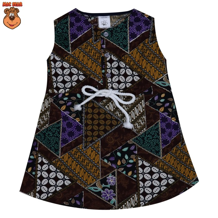 bo2-1804 macbee kids baju anak dress batik brown - size 5 cokelat tua