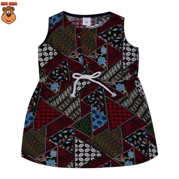 bo3-1804 macbee kids baju anak dress batik red - size 4 merah salem