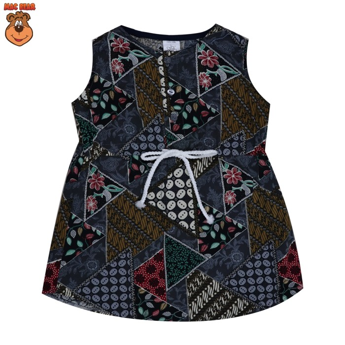 bo1-1804 macbee kids baju anak dress batik grey - size 6 abu -abu tua