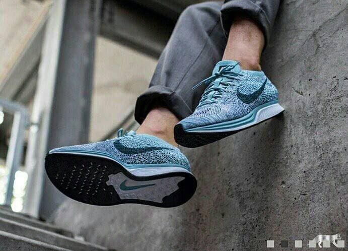 buy popular b7112 6aef6 Sepatu SneakersRunning Nike Flyknit Racer Macaron Pack Blueberry!!