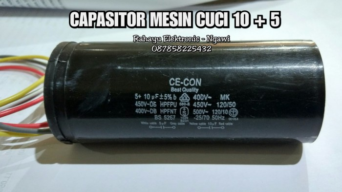 harga Kapasitor / capasitor mesin cuci 10 + 5 Tokopedia.com