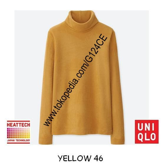 harga Kaos uniqlo heattech fleece turtle neck panjang 400176 kuning yellow46 Tokopedia.com
