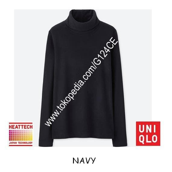 harga Kaos uniqlo heattech fleece turtle neck lengan panjang 172281 navy Tokopedia.com