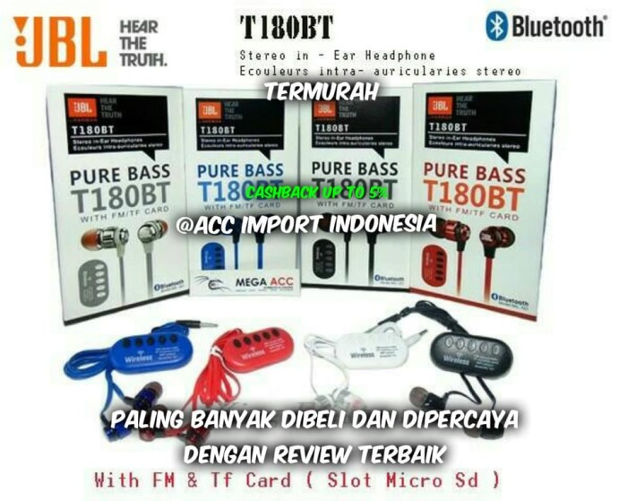harga Headset earphone stereo headset bluetooth jbl t180 with fm & tf card Tokopedia.com
