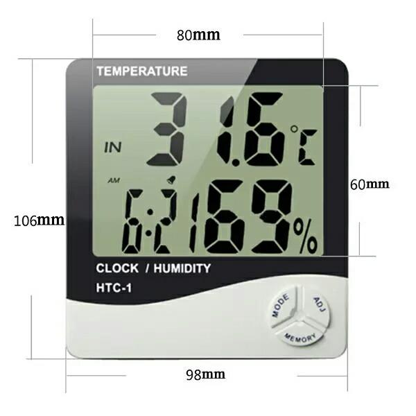 Hygrometer Thermometer HTC Clock Humidity Ukur Suhu Kelembaban udara