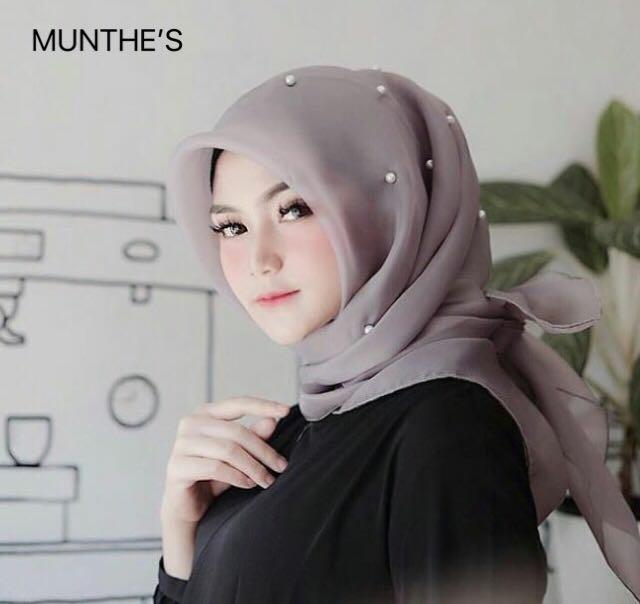 Hijab jilbab organza silk tunik mutiara organza pearl premium