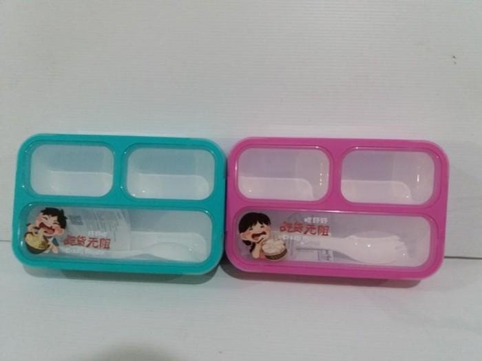 Lunch box yooyee mini / bento kids / sekat 3 / lunch box grid / tempat