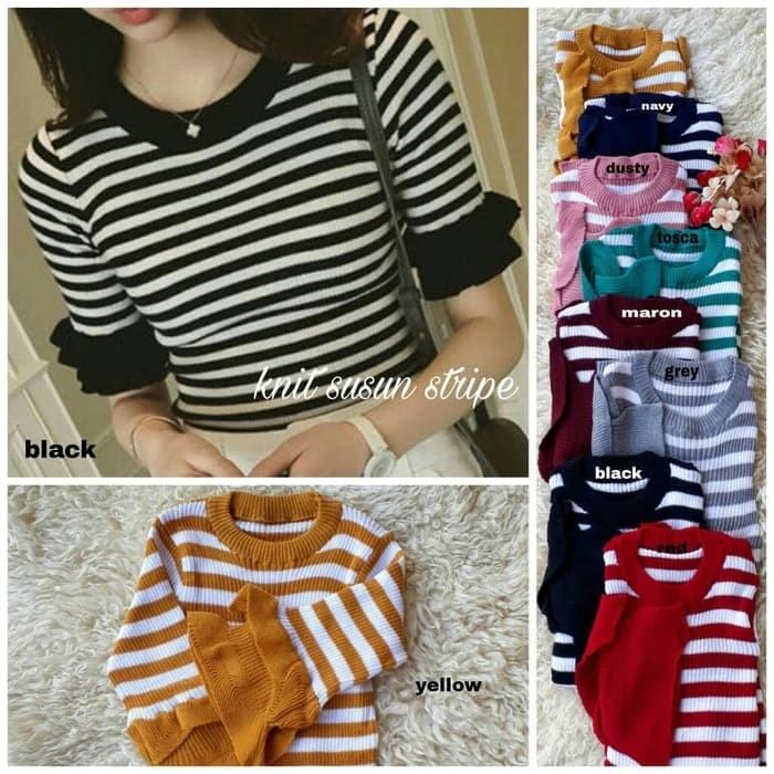 Baju Atasan [Knit susun stripe RO] blouse wanita rajut var color