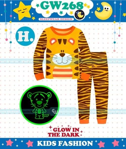 harga Piyama baju tidur anak gw 267 gw 268 glow in dark tiger orange Tokopedia.com
