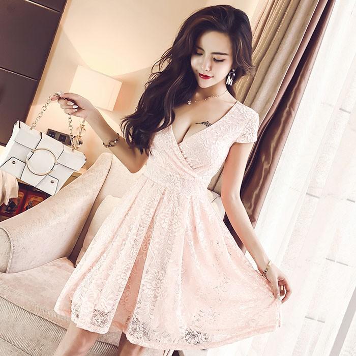 Jual Gaun Pesta Wanita Dress Brokat Pink Lengan Pendek Seksi 50658pk