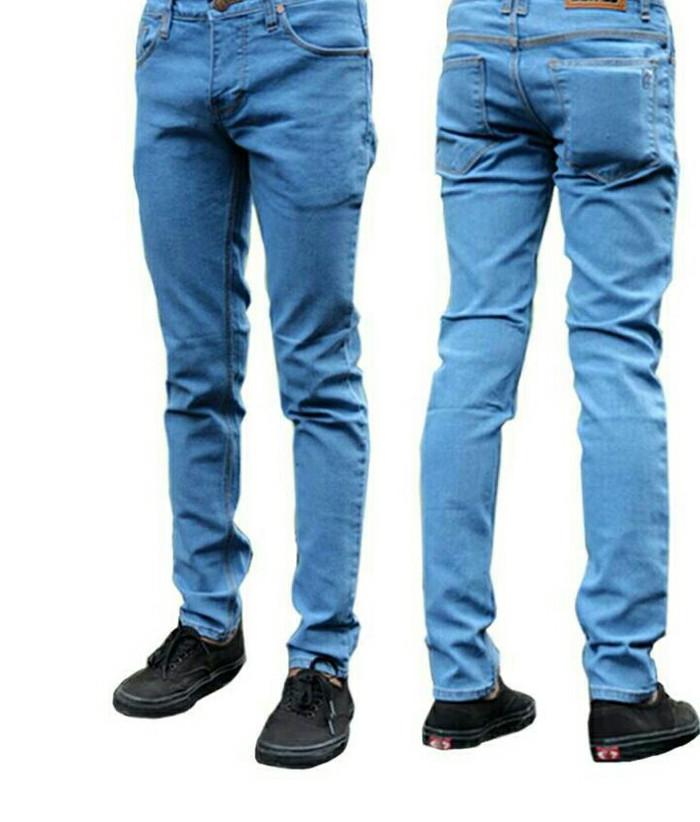celana jeans bioblith panjang skinny pria - Biru Muda, 28