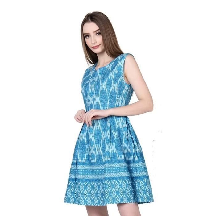 harga Rianty batik dress wanita songket debora - blue - biru l Tokopedia.com