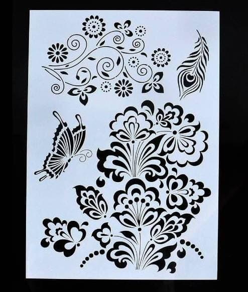 harga Plastic stencil - flower feather butterfly pattern (295x210cm) Tokopedia.com