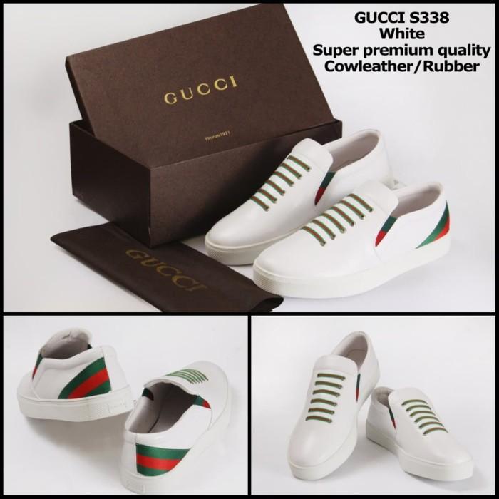 sepatu fashion polos dompet kulit dompet fashion wanita sepatu gucci - Putih 7f9681659a