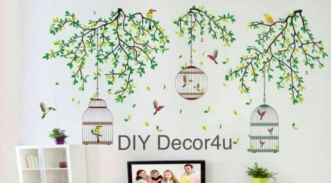 jual wallpaper dinding wall sticker 60x90 jm7259 leaves n 3 cage