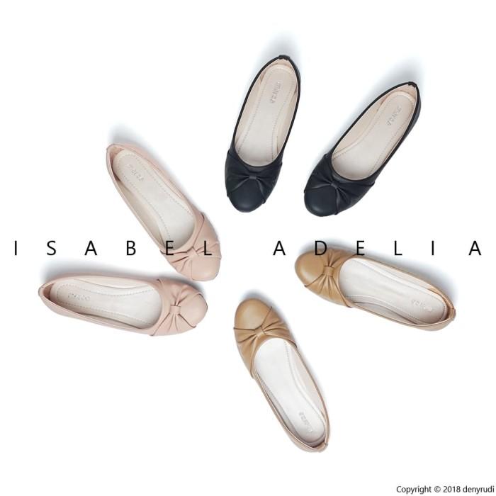 Isabel sepatu balet wanita tamara flat shoes hitam coklat peach - hitam 39