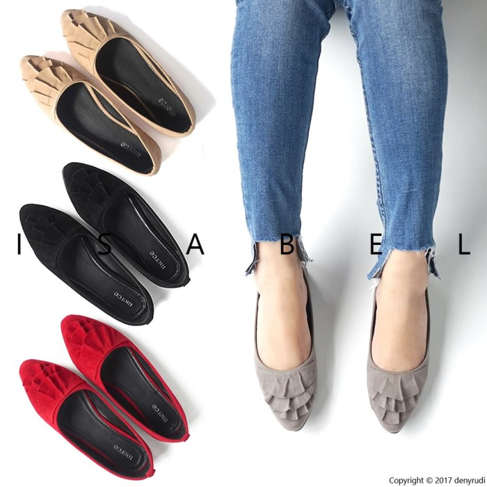 Isabel sepatu balet wanita alicia flat shoes abu hitam merah - merah 38
