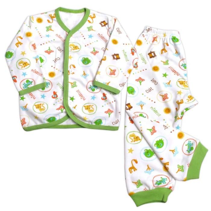 Miabelle set baju panjang kancing depan + celana fullprint - m - 6-12bulan orange