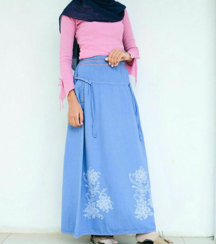 harga Rok denim jeans motif/ skirt maxi / rok panjang kerja / rok muslim Tokopedia.com