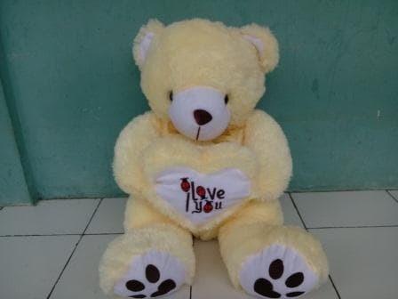 Jual Boneka Cantik Imut Boneka Teddy Bear Besar Pink I Love you Uk ... 1bd08705f9
