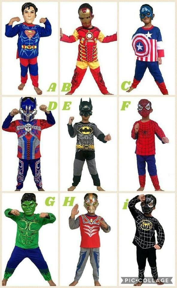 Baju topeng anak - baju kostume superhero + topeng - baju superhero