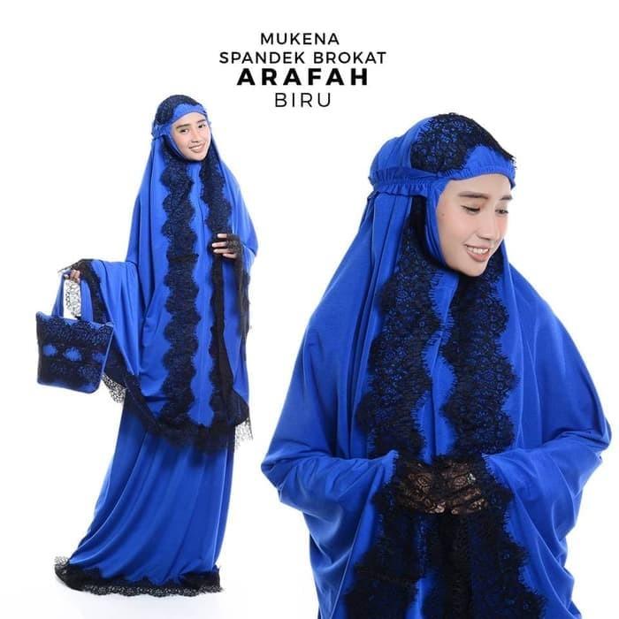 Mukena spandek brukat/brokat arafah biru renda hitam. Fashion : Busana Muslim ...