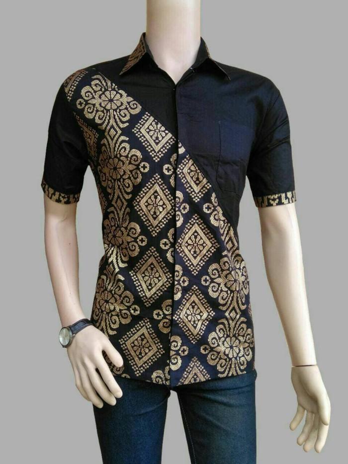 Jual Hem Batik Kemeja Pria Polos Kombinasi Batik Prada Murah Hb060 Kota Pekalongan Batik Em Ys Tokopedia