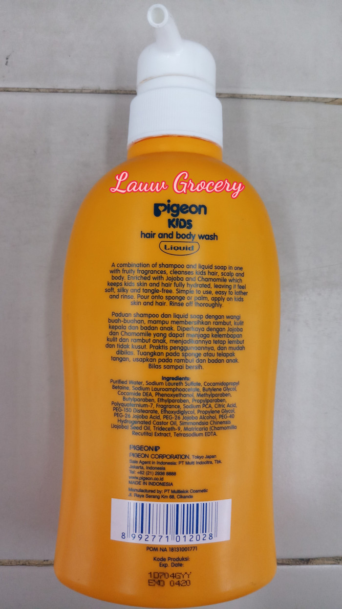 Pigeon Kids Hair And Body Wash Liquid Orange Mango 400ml Daftar Kewpie Baby Foaming Soap Refill 350ml Sabun Anak