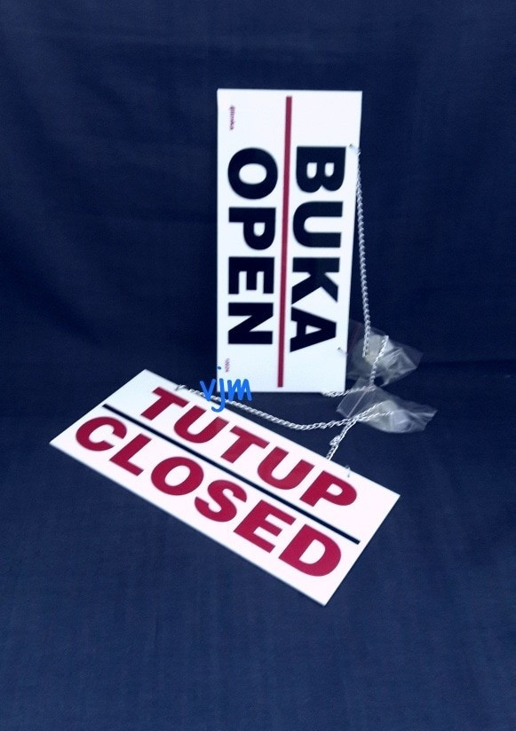 Foto Produk sign label buka tutup/sign board open closed/stiker acrylic/akrilik dari acrylikmurah