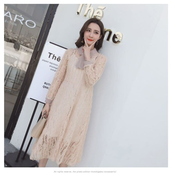 Jual Dsjt218041444532 Midi Dress Korea Dress Lace Elegan