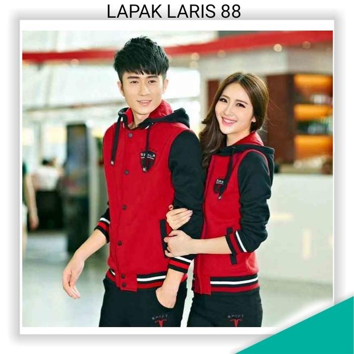 harga Couple sport merah-hitam couple jaket babyterry merah Tokopedia.com